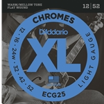 D'Addario - Chromes Flat Wound Electric Guitar Strings, Light, 12-52