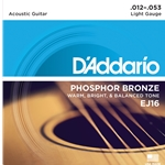 D'Addario - EJ16 Phosphor Bronze Acoustic Guitar Strings, Light, 12-53