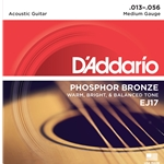 D'Addario - EJ17 Phosphor Bronze Acoustic Guitar Strings, Medium, 13-56