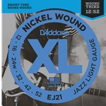 D'Addario - EJ21 Nickel Wound Electric Guitar Strings, Jazz Light, 12-52