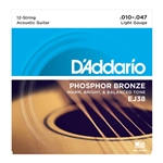 D'Addario - 12-String Phosphor Bronze Acoustic Guitar Strings, Light, 10-47