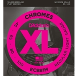D'Addario - ECB81M Chromes Bass, Light, 45-100, Medium Scale