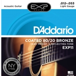 D'Addario - EXP11 Coated 80/20 Bronze Acoustic Guitar Strings, Light, 12-53