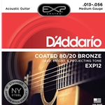 D'Addario - EXP12 Coated 80/20 Bronze Acoustic Guitar Strings, Medium, 13-56