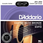 D'Addario - EXP13 Coated 80/20 Bronze Acoustic Guitar Strings Custom Light, 11-52
