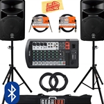 Yamaha - STAGEPAS 600BT Portable PA System Bundle with Speaker Stands, Cables, and Austin Bazaar Polishing Ch