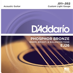 D'Addario - Phosphor Bronze Acoustic Guitar Strings, Custom Light, 11-52