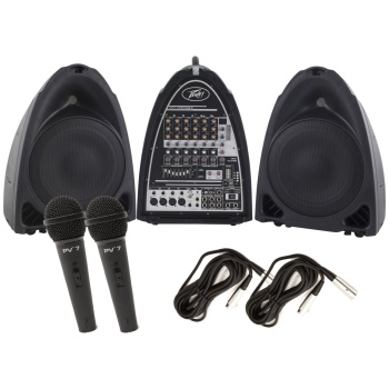Peavey - PVI Portable Powered Audio System 300 Watts 8 Channels USB w/ 2 Mics and XLR Cables