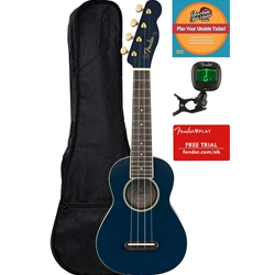 Fender - Grace Vanderwaal Moonlight Soprano Ukulele Bundle with Gig Bag, Tuner, Strap, Online & DVD Lessons
